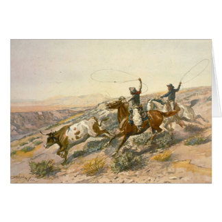 Buccaroos by Charles Marion Russell Greeting Cards