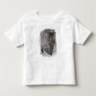 Bucchero vessel in the form of a leg with sculpted toddler t-shirt