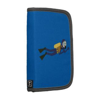 Buceador azul y amarillo del dibujo animado de la organizador