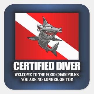 Buceador certificado (cadena alimentaria) pegatina cuadrada