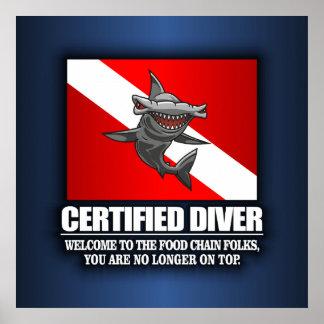Buceador certificado (cadena alimentaria) póster