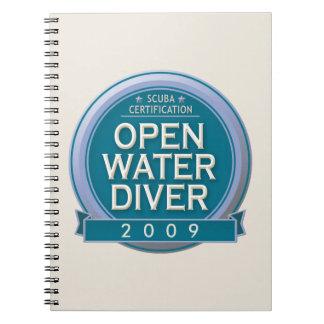 Buceador certificado personalizable del agua libreta espiral