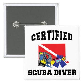 Buceador certificado pin cuadrado