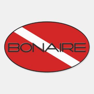 Buceador de Bonaire abajo Colcomanias De Oval Personalizadas