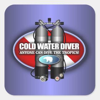 Buceador de la agua fría (ST) Pegatina Cuadrada