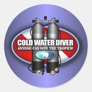 Buceador de la agua fría (ST) Pegatina Redonda