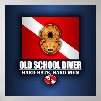 Buceador de la escuela vieja póster