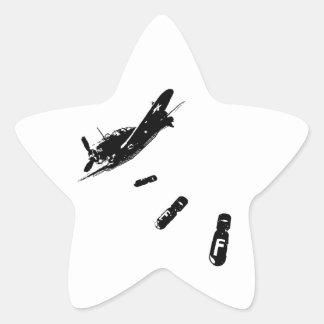Buceador de la F-Bomba (negro) Pegatina En Forma De Estrella