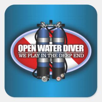 Buceador del agua abierta (ST2) Pegatina Cuadrada
