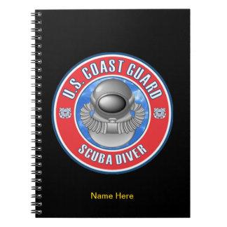 Buceador del guardacostas spiral notebook