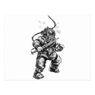 Buceador del mar profundo postal