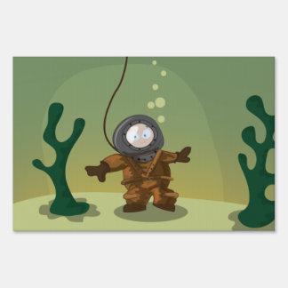 Buceador del mar profundo señales