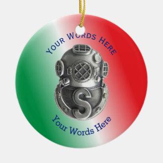 Buceador del salvamento adorno navideño redondo de cerámica