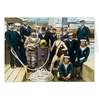 Buceador naval real 1891 del casco de protección tarjeta de felicitación
