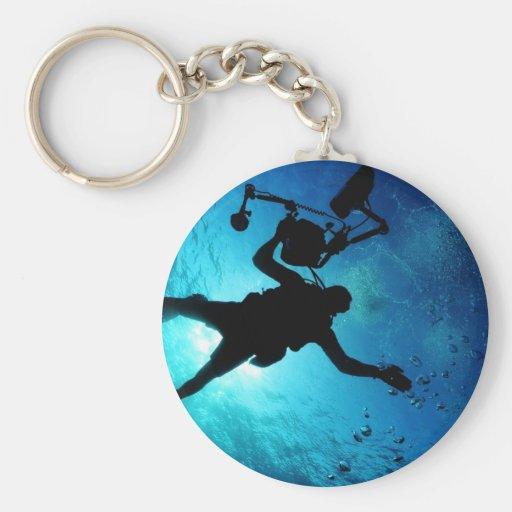 Buceador subacuático llavero redondo tipo pin