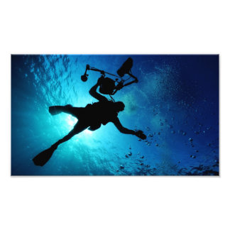 Buceador subacuático arte con fotos