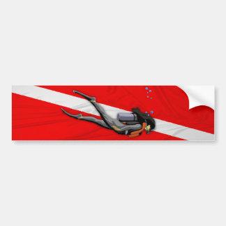 Buceador y bandera arrugada de la zambullida pegatina para auto