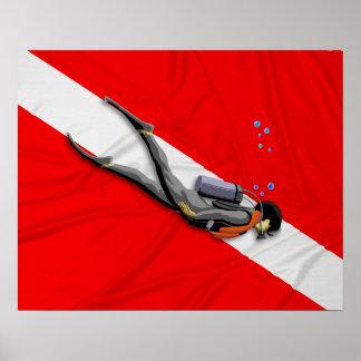 Buceador y bandera arrugada de la zambullida póster