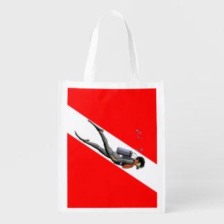 Buceador y bandera de la zambullida bolsas reutilizables