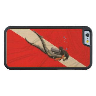 Buceador y bandera de la zambullida funda de iPhone 6 bumper arce