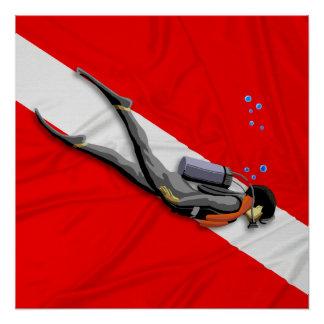 Buceador y bandera de la zambullida perfect poster