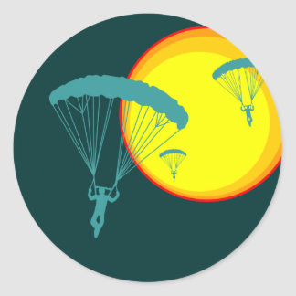 buceadores retros del cielo pegatina redonda