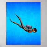 Buceo con escafandra del hombre posters