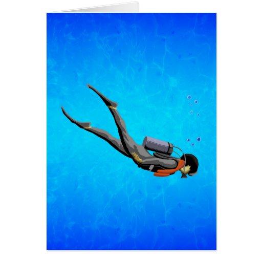 Buceo con escafandra del hombre tarjetón
