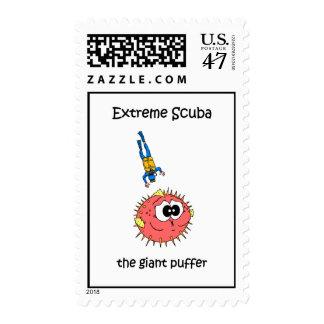 Buceo con escafandra divertido timbres postales