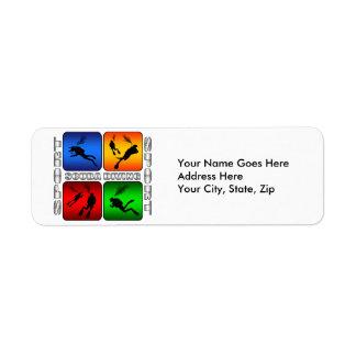 Buceo con escafandra espectacular etiqueta de remitente