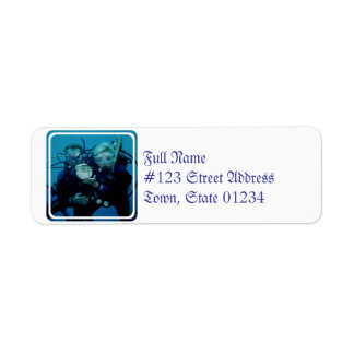 Buceo con escafandra etiqueta de remite