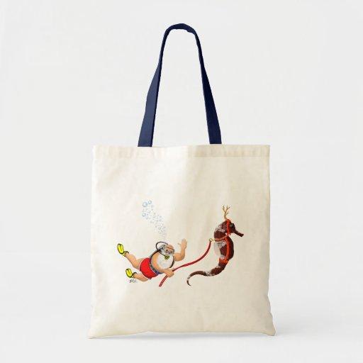 Buceo con escafandra Santa y la bolsa de asas del