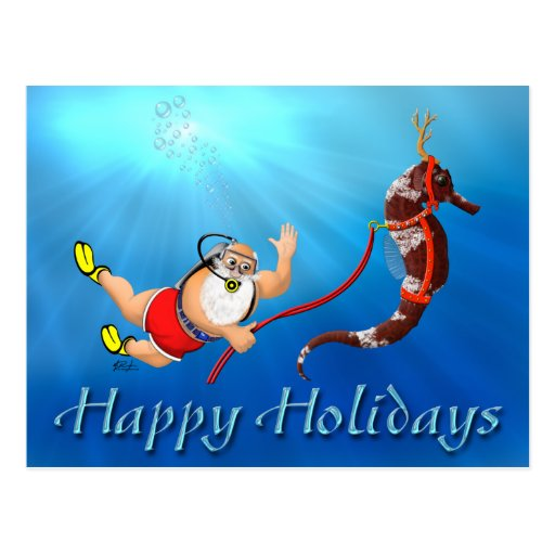 Buceo con escafandra Santa y postal del Seahorse