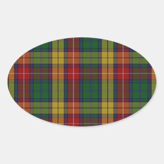 Buchanan Clan Family Tartan Oval Sticker