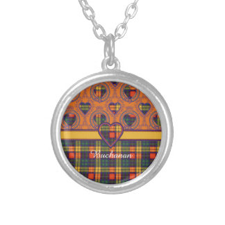 Buchanan clan Plaid Scottish tartan Round Pendant Necklace