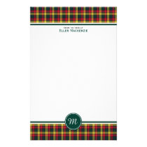 Buchanan Clan Tartan Red and Yellow Plaid Monogram Stationery