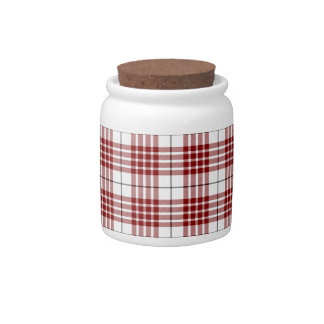 Buchanan clan tartan red white plaid candy jar
