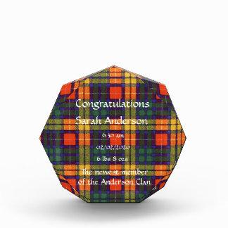 Buchanan Family clan Plaid Scottish kilt tartan Acrylic Award