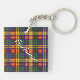 Buchanan Family clan Plaid Scottish kilt tartan Double-Sided Square Acrylic Keychain