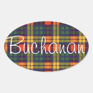 Buchanan Family clan Plaid Scottish kilt tartan Oval Sticker