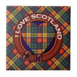 Buchanan Family clan Plaid Scottish kilt tartan Small Square Tile