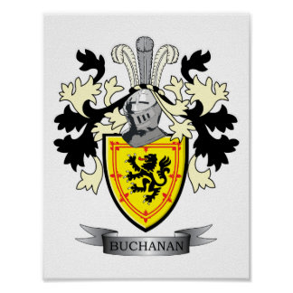 Buchanan Family Crest Coat of Arms Poster