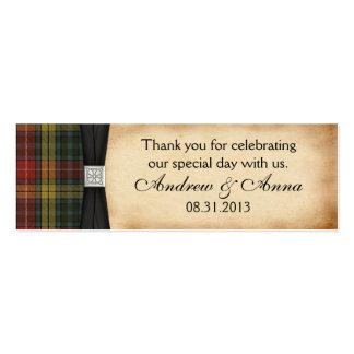 Buchanan resistió al boda del tartán le agradece tarjetas de visita mini