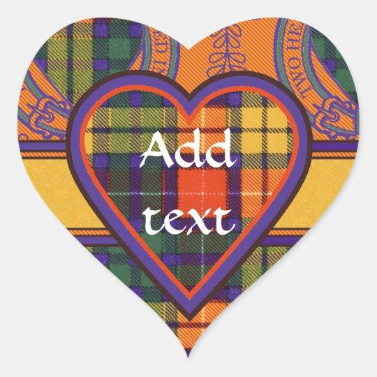 Buchanan Scottish Tartan Heart Sticker