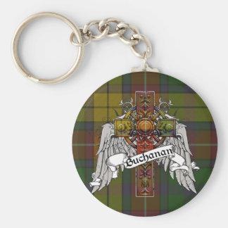 Buchanan Tartan Cross Basic Round Button Keychain