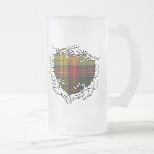 Buchanan Tartan Heart Frosted Glass Beer Mug
