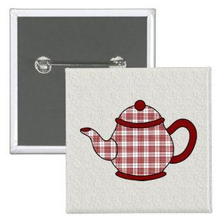 Buchanan Tartan Plaid Teapot Pinback Button