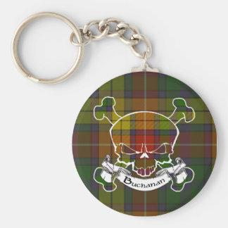 Buchanan Tartan Skull Keyring Basic Round Button Keychain