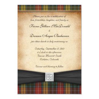 Buchanan Weathered Tartan Wedding Invitation