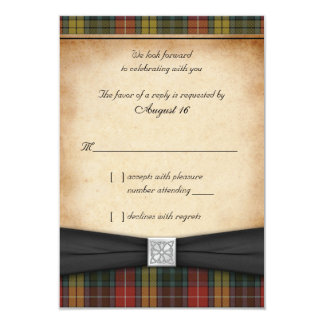 Buchanan Weathered Tartan Wedding Reply RSVP Card